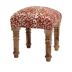 """Imax - Rustic Gordy Upholstered Square Ottoman - *Dimensions: 20""""h x 18""""w x 18"""""""