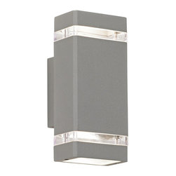 "Possini Euro Design - Possini Euro Rectangular Silver Up/Down Outdoor Wall Light - Industrial styling and matte silver finish give this outdoor wall light from Possini Euro Design a contemporary feel. The rectangular design includes clear glass inserts that allow accents of light out the sides and bulbs in the top and bottom direct light up and down. Die-cast aluminum. Matte silver finish. Takes two 35 watt GU10 halogen bulbs. 10 1/2"" high. 4 1/2"" wide. Extends 4 1/4"" from the wall.  Die-cast aluminum.    Matte silver finish.   Includes two 35 watt GU10 halogen bulbs.  10 1/2"" high.   4 1/2"" wide.   Extends 4 1/4"" from the wall."