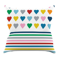 "Kess InHouse - Project M ""Heart Stripes"" Rainbow Shapes Throw Pillow (26"" x 26"") - Rest among the art you love. Transform your hang out room into a hip gallery, that's also comfortable. With this pillow you can create an environment that reflects your unique style. It's amazing what a throw pillow can do to complete a room. (Kess InHouse is not responsible for pillow fighting that may occur as the result of creative stimulation)."