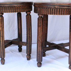 Round Stool with Scalloped Edge and Fluted Legs - Round Stool with Scalloped Edge and Fluted Legs