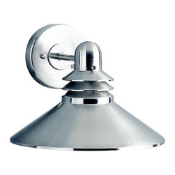 """Kichler - Grenoble Wall Lantern in Brushed Nickel - Outdoor lighting is important for safety and feeling secure in your home. These lights can also be used to enjoy sitting on outdoor patios during the evening and night. This outdoor light is finished in brushed nickel and has an aluminum body. Features: -One light incandescent outdoor light -Grenoble Collection -Brushed nickel finish -Aluminum body -Contemporary style -Requires one medium base bulb, 150 watt max - Bulb not included -120V -UL and/or CSA listed use: Suitable for wet locations -Overall dimensions: 8""""H x 11""""W  About Kichler: Kichler Lighting is a four-time winner of the Arts Award as Lighting Manufacturer of the Year. The highest accolade our lighting industry can give. Today they are the leading decorative lighting fixture company in the world. Founded in 1938, Kichler remains a privately held, family owned and run business staffed by people who understand decorative home lighting fixtures and who care about their customers. Kichler has built their reputation on original, design-oriented, high quality lighting products at competitive prices, backed by the finest customer service in the industry. Helping to make your house a home is their job and our number one priority. They do this by providing their customers with the widest assortment of home lighting fixtures and home decor accessories in the industry. The Kichler family of brands offers lighting for every room in your home, designed to fit every pocketbook, offering choices to complement your lifestyle and tastes. Kichler Lighting is a four-time winner of the Arts Award as Lighting Manufacturer of the Year. The highest accolade our lighting industry can give."""