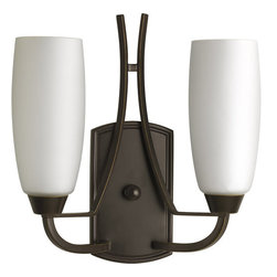 Progress Lighting - Progress Lighting P7127-20 Wisten Two-Light Wall Sconce with Tulip-Shaped Etched - *Two light up lighting wall sconce
