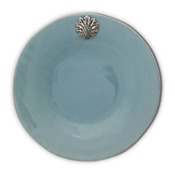 Coquille Salad Plate - Mist - Bathe your table in the subtle serenity of soft blue-grey hues with the Coquille Salad Plate in Mist, a stoneware dish that tops off each place setting with both an achievement in simple, functional ceramics and a beautiful example of cast pewter's traditional grace.  This exquisite piece of stoneware was hand-glazed in a soft grey-blue hue that shifts with the light.