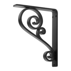 """Timeless Wrought Iron - Classic Scroll Wrought Iron Corbel - 1.5"""" - 7x9 - Unfinished - w/ Hole - The Classic Scroll Corbel is a decorative and functional iron bracket made from solid steel. This iron corbel measures 1.5"""" wide and is available in the following bracket sizes (Depth x Height x Width): 5 x 7 x 1.5; 6 x 8 x 1.5; 7 x 9 x 1.5; 8 x 10 x 1.5; 9 x 11 x 1.5; 10 x 12 x 1.5. Common uses for our Classic Scroll Corbels include granite & stone counter top supports, shelving brackets, fireplace mantel support and much more. You can choose from 4 finish options including Black; Aged Bronze; Aged Pewter; or Clear Coat (over raw metal). Want to paint this corbel yourself? Choose """"Raw Material"""" in the finish options drop-down and your corbels will arrive ready for you to paint (you will want to clean them of skin oils, dust & dirt before applying your own finish)."""