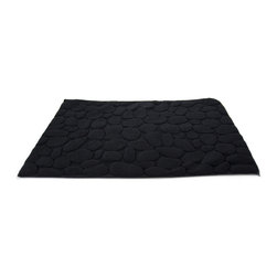 Pebbles Bath Mat - Onyx - Inspired by nature, this unique pebble design bath mat is made of 100% cotton and feels soft under your bare feet. Its raised pattern gives each fabric stone definition and shape while maintaining its sleek look.