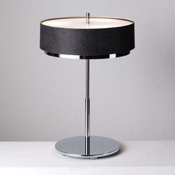 "Estiluz - Miris M-2717 Series Table Lamp - This dainty collection includes white and black shades to match any decor! The M-2717 Series of the table lamps features incandescent table lamps that provide both direct and indirect light. Learn more about The M-2717 Series Table Lamps below: FEATURES | SPECIFICATIONS  FEATURES -Table lamps -Designed by Leonardo Marelli -Miris Collection -Available in chrome, brushed nickel and satin gold finishes -Available in white or black textile shades -Provides direct and indirect light - Glass diffuser on top and bottom -Integrated electronic dimmer Back to top  SPECIFICATIONS -Do not use bulbs of a higher power than which is indicated -Use 3 x 100 watt incandescent E27 bulbs- not included -All bulbs are 230v -Shade dimensions: 5.5"" H x 17.75"" Dia -Overall dimensions: 24.125"" H x 12.25"" Dia  Specifications Back to top"