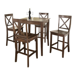 Crosley Furniture - 5 Pc Pub Dining Set w Cabriole Leg and X-Back - Includes Pub Table and 4 Stools in Vintage Mahogany. Solid Hardwood & Veneer Construction Table . Solid Hardwood Stools. Hand Rubbed, Multi-Step Finish. Solid Hardwood, Carved Cabriole Style Legs. Shaped Back for Comfort. Table Dimensions: 36 in. H x 32 in. W x 32 in. D. Stool Dimensions: 40 in. H x 18.5 in. W x 22.5 in. DConstucted of solid hardwood and wood veneers, the 5 piece Pub / High Dining set is built to last. Whether you are looking for dining for four, or just a great addition to the basement or bar area, this set is sure to add a touch of style to any area of your home.