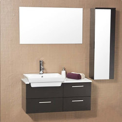 """36"""" Caro Espresso Modern Bathroom Vanity (FVN6163ES) - The Fresca Caro Espresso Modern Bathroom Vanity features a contemporary, chic design and quality craftsmanship. The cabinet is solid wood in an espresso finish. The white ceramic basin offers perfect contrast against the dark finish. To complete your bathroom design, this piece comes with a mirror and side cabinet. This set is perfect for someone looking for a complete modern bathroom. Many side cabinet and faucet options are available."""