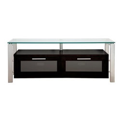 Plateau Decor 50 Inch TV Stand in Black and Silver - Invite high tech style into your living room with the versatile Plateau Decor 50 Inch TV Stand in Black and Silver. Black and silver elements play off each other for an industrial look, and a top shelf made of clear glass makes the stand appear light and open. Perfect for small spaces, this compact and functional stand features a base cabinet made of black wood veneers with two compartments for your components, game controllers, or DVDs. Each front door opens on precision hinges and features a frosted glass front panel that subtly disguises the contents.Your up to 56 inch flat panel TV will be beautifully showcased on the spacious top shelf, which is made of 0.5 inch thick clear safety glass with smooth, polished edges. Shiny silver welded heavy gauge steel tubes make up the frame and impart strength, stability, and industrial style. The back panel is ventilated and features cord management openings for your convenience. The wood cabinet arrives to you already built, so the rest of the assembly process is quick and painless.About Plateau CorporationPlateau Corporation utilizes the finest materials to provide you with state of the art audio and video home theater furniture systems. Entertainment centers created by Plateau Corporation are a fusion of innovative engineering and contemporary design. Their product list includes entertainment centers, media storage, TV armoires, and TV stands that are all are easy to assemble, incredibly durable, and specially made to highlight your audio/video system. Their unique entertainment centers can grow as your system grows.