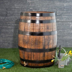 Upcycle 54 Gallon Wooden Rain Barrel - Additional features54 gallon capacityIncludes linking fitting to connect to other barrelsBarrel is completely sealed so no mosquitoes can get inCrafted from pre-used Bourbon, wine and beer barrelsBarrels are tested, rinsed, then converted into rain barrelsRefinished option features Black Oxide paintedmetal rings and stained and sealed wood parts Make good use of your rainwater and add a rustic, charming touch to your garden with the Upcycle 54 Gallon Oak Wooden Rain Barrel. Crafted from pre-used Bourbon, wine and beer barrels, this rain barrel has a brass spigot for easy water access. It holds up to 54 gallons and can be linked to other rain barrels to really up your capacity. This barrel is sealed tight to keep insects out and includes a diverter to connect it directly to your downspout.