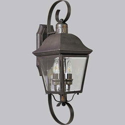 Progress Lighting - P5688-20:  Andover Antique Bronze Two-Light Outdoor Wall Lantern - -Hinged Door For Easy Relamping  -Shade: Clear Beveled  -Solid Brass Progress Lighting - 94568820