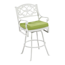 Home Styles - Home Styles Biscayne Bistro Stool with Cushion in White Finish - Home Styles - Outdoor Chairs - 555289C - Create an intimate conversation area with Home Styles outdoor Stools with Sunbrella  Green Apple fabric Cushions.  Constructed of cast aluminum in a UV resistant powder coated hand applied White finish and Green Apple Cushions the Bar Stool features a seat designed specifically to prevent damage caused from pooling by allowing water to pass through freely.  Adjustable nylon glides prevent damage to surfaces caused by movement and provide stability on uneven surfaces.  Seat height measures 28h.  Arm height measures 38.25h. Size:  24.5w 22d 48h.  Stainless steel hardware.