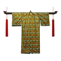 China Furniture and Arts - Japanese Silk Kimono - Once the traditional everyday garb in Japan, the kimono has now become a novelty item. Our kimono, with vivid floral pattern hand-embroidered on green silk is sure to create a stunning focal point in any room. Wooden hanger (Part No. BJHANCS) and tassels (Part No. BJTASL) sold separately.