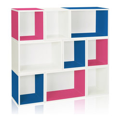 Way Basics - Stackable Oxford Modular Storage, Blue Pink White - The Oxford Modular Organizer is a unique combination of our Cubes, Cubes Plus and Rectangle Plus. This configuration will stylishly adorn any room as a statement piece, room divider, or bookshelf for your home or office.