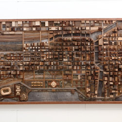 "Reclaimed wood wall art  of Chicago cityscape, made of old barn wood. 54""x30""x4"" - This is the exact one that is available to ship out right away."