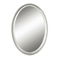 Brushed Nickel Oval Beaded Beveled Mirror - *This oval mirror features a frame made of hand forged metal with a brushed nickel finish. Mirror is beveled. This mirror may be hung vertical or horizontal.