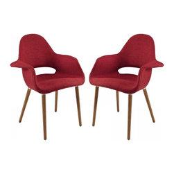 Modway Imports - Modway EEI-1329-RED Taupe Dining Armchair Set of 2 In Red - Modway EEI-1329-RED Taupe Dining Armchair Set of 2 In Red