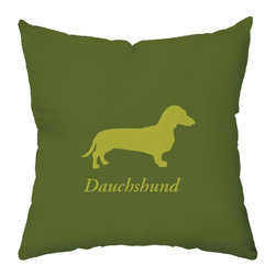 Checkerboard Ltd - Dachshund Decorative Throw Pillow - 18 inch by 18 inch - Silhouette of your breed on the front with your dog's name and a bold initial overlay on a houndstooth pattern on back. Done in olive green and clover. Our softly textured fabric is long-lasting, wrinkle-resistant and feels as great as it looks.