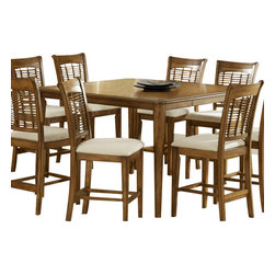 Hillsdale Furniture - Hillsdale Glenmary/Bayberry 54x36 Round Counter Height Table with 18 Inch Leaf - Finished in a dark cherry or classic oak, our Glenmary collection combines in the chair the traditional elements of cane and a lattice work design to create an effect that is both timeless and elegant. The chairs and stools have a cream colored fabric seat. The matching tables, available in both round and rectangle, each claim their own fabulous features. The round has a simple gently carved pedestal base. Made from hardwoods, this group is composed of both solids and climate controlled wood composites to prevent cracking and splitting from changes in temperature or humidity.