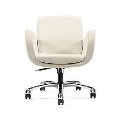 "Global Industries - ""Kate"" Leatherite Office Chair - You'll be sitting pretty on the job with this cool and comfy chair. Faux leather upholstery atop a base of polished aluminum — plus all the ease of pneumatic height adjustment — bring a sense of modern style to any task."
