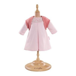Corolle Mon Classiques Bebe 17 in. Pink Dress & Woolen Vest Doll Ensemble - The Corolle Mon Classiques Bebe 17 in. Pink Dress & Woolen Vest Doll Ensemble ensures your little one's Corolle Mon Bebe Classiques dolly will always be stylish. This beautifully sewn and finished ensemble includes a pastel pink A-line dress with pink woolen shrug. This outfit is designed to fit her 17-inch baby doll in style.About CorolleCorolle is a premier doll brand designed in the storybook region of France's Loire Valley. Since 1979, Corolle has been creating highly detailed dolls designed to be cherished by children everywhere. Every Corolle doll will inspire magical childhood memories that will last for a lifetime. Corolle dolls look and feel as real as possible. They're created of soft, supple vinyl, have natural-looking hair, and wear on-trend fashions. Corolle dolls are designed durable enough to withstand years of hugs and love. Perfect heirloom treasures! Doll play encourages children to explore different roles from caring for and sharing hopes and dreams to finding an understanding playmate and friend for life. Corolle designs dolls for children of all ages.There is a range of Corolle dolls designed for specific ages. Babi Corolle is a soft-body doll perfect for newborn babies and older. It's machine-washable, feather-light, and made to be loved. Mon Premier Corolle is designed for babies 18 months and older. This line includes a range of baby dolls, clothing, and accessories. The dolls are lightweight and soft. The clothing has Velcro closures so it's easy to put on and take off. Mon Classique Corolle is a classic baby doll designed for toddlers to love and nurture. This line has a complete assortment of larger baby dolls, clothing, and nursery accessories. Some even have hair that can be brushed and styled. Others coo, giggle, drink, and go potty. Mademoiselle Corolle is a toddler doll for toddlers. These dolls have expressive faces, silky long hair, and are dressed in the latest styles. This doll will be your little one's best friend. She's perfect for sharing secrets and working out new hairstyles and fashion. Les Cheries Corolle is designed for little ones four years and older. She has long, lush, rooted hair and an amazing wardrobe of stylish outfits. This doll provides endless hours of fashion and hair play.