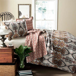 Lush Decor - Nora Gold Three-Piece Full/Queen Quilt Set - - Mughal style pattern was the inspiration in creating this beautiful Nora 3 piece set. One side of the quilt is adorned with earthy tones of red, brown, yellow, and blue colors and the other side features scale down floral pattern in contrast colors traversing through the quilt. Made from 100% cotton, this set is soft to the hand and has wonderful quilting details  - Set Includes: 1 Quilt, 2 shams  - Care Instructions: Machine wash cold, gentle cycle, only non chlorine bleach when needed, tumble dry low, steam if needed, do not iron  - Fill Content: 100% polyester Lush Decor - C21866P14-000