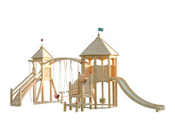 CedarWorks - CedarWorks Serendipity 5 Swingset - Feeling the love? The Serendipity 5 provides children from 18 months to 18 years all the essentials for safe and fun play. Our Sure Step System provides a safe and easy way for a toddler to access the upper playdeck while our firepole, chin-up bar, and knotted rope are great accessories for your advanced climbers. Assembly is required.