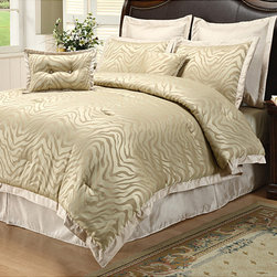None - Chamberly 8-piece Comforter Set - This eight-piece zebra-print comforter set comes in a beige color that will complement other bedding or nearby furniture. The comforter,accent pillows,bed skirt,euro shams,and pillow shams are made from the most comfortable cotton available.
