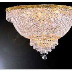 The Gallery - French Empire Crystalemi Flush chandelier Lighting - 100% crystalemi Flush chandelier, this chandelier is characteristic of the grand chandeliers which decorated the finest Chateaux and Palaces across Europe and reflects a time of class and elegance which is sure to lend a special atmosphere in every home. Size: WD 24 x H. 18, 6 Lights. Finish: Gold.