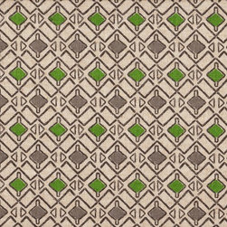 """Close to Custom Linens - 22"""" California King Bedskirt Gathered Hira Green Grey Beige Geometric - Hira is a contemporary small scale geometric in green and grey on a neutral beige linen-textured background. Gathered with 1 1/2 to 1 fullness, split corners and a 22 inch drop. 85% cotton, 15% rayon with a cotton/poly platform."""