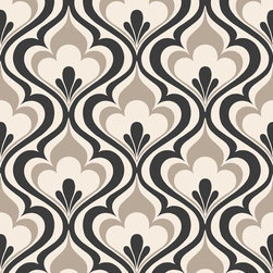 Brewster Home Fashions - Lola Black Ogee Bargello Wallpaper Bolt - With a touch of glamorous sophistication this black and white wallpaper brings high-style to walls with a modern geometric design and chic grey accents.