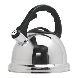 Epoca - Safe-T Whistling Kettle - The Premium Safe-T Whistling Tea Kettle is constructed out of quality Stainless Steel and holds up to 3 qts. of liquid. The large, comfortable stay-cool handle is angled away from the steam and features an easy trigger-release that opens the spout, and finger ridges that make for safe one-handed pouring. The oversized Safe-T base covers the flames from your stove, and the encapsulated bottom provides increased durability and allows for quick heating. This kettle has a whistling spout that notifies you when the water is boiling, and the wide mouthed lid removes for easy filling and cleaning. Safe-T Whistling Tea Kettles are polished Stainless Steel, making them a great kitchen accent to suit any decor.