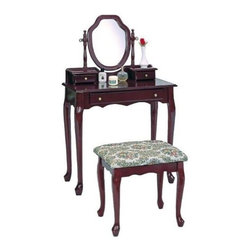 "Coaster - 2-Piece Vanity Set (Cherry) By Coaster - The Coaster Traditional Cherry Vanity Table Set is a dressing table with an air of sophisticated old world class, with its subtle curves and beautiful cherry stain"" Keep your jewelry and accessories organized with the various drawers, making getting ready for your day a wonderful experience in itself. Features: Cherry stain finish Green foliage embroidered fabric Made of hardwood and hardwood veneers Fully finished interiors Two small jewelry drawers One large drawer for accessories Swivel mirror Includes Vanity and Stool Some assembly required Specifications: Vanity Dimensions: 48 H x 15.5 D x 30.25 W Stool Dimensions: 17.25 H x 15 D x 19 W Large drawer dimensions: 2 H x 9 D x 19.5 W Small drawer dimensions: 2.25 H x 3 D x 4.5 W"