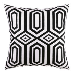 "Jennifer Paganelli - Jennifer Paganelli Hotel Soho Black Embroidered Pillow - Modern lines converge and connect in an engaging geometric pattern of diamonds and trapezoids to form the Hotel Soho throw pillow. Embroidered in rich black, this bold linen pillow adds energy to contemporary and transistional settings. 20"" Sq; 100% linen pillow with embroidered detail; Down fill insert included; Hidden zipper; Dry clean only; Natural linen may appear beige rather than white as shown"