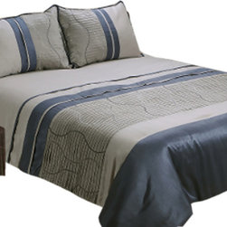 """Jenny George Designs - Zuma 4 Piece Full Comforter Set Featuring Micropleating With Wave Embroidery - Zuma 4 Piece Comforter Set, Full Size with Micro-Pleating and Wave Embroidery. Set Includes 1 Comforter, 2 Standard Shams, 1 Bedskirt. Comforter Dimensions: 85"""" x 89"""". Standard Sham Dimensions: 20"""" x 26"""". Bedskirt Dimensions: 54"""" x 74"""" x 15"""". 100% Polyester. Dry Clean."""