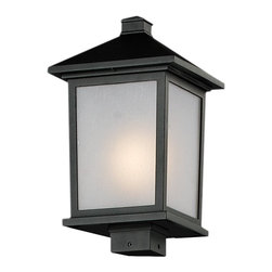 Z-Lite - Z-Lite Holbrook Outdoor X-KB-BHP735 - Clean, mission styling and rectangular detailing define the classic styling of this large outdoor post head. White seedy glass panels create an elegant glow, while the cast aluminum hardware finished in black can withstand nature's seasonal elements.