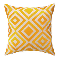 "Trina Turk - Trina Turk Merced Yellow Pillow - The Merced throw pillow's concentric diamond pattern lends an energetic vibe. Pulsing with energy, this square geometric accent by Trina Turk is embroidered in vibrant sunshine yellow. 20""W x 20""H; 100% linen; Includes 95/5 feather down insert; Hidden zipper closure; Dry clean only"