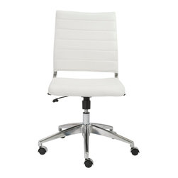 Eurostyle - Axel Low Back Office Chair without Arms-White/Aluminum - Leatherette seat and back over foam