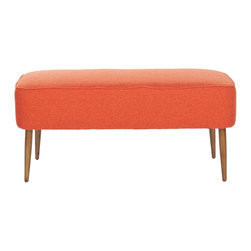 Cary Bench - Orange - The Cary Bench takes all the cushiony comfort of an armchair and gives you functional seating for two. It would be great in a window seat or at the foot of your bed.