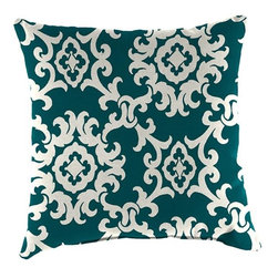 Home Decorators Collection - Large Square Outdoor Throw Pillow - Our Large Square Outdoor Throw Pillows are the perfect accompaniment to almost any outdoor furniture. They are UV-protected and treated to resist fading in harsh sunlight, soil and stains. We offer a variety of Sunbrella®, Outdura® and polyester fabrics. Resists fading, stains and mildew. Filled with mildew-resistant polyfoam.