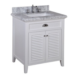 Kitchen Bath Collection - Savannah 30-in Bath Vanity (Carrara/White) - This bathroom vanity set by Kitchen Bath Collection includes a white cabinet with self-closing doors, stunning Carrara marble countertop with double-thick beveled edges,undermount ceramic sink, pop-up drain, and P-trap. Order now and we will include the pictured three-hole faucet and a matching backsplash as a free gift! All vanities come fully assembled by the manufacturer, with countertop & sink pre-installed.