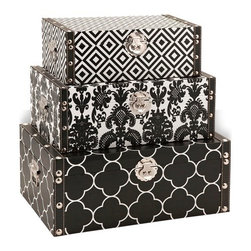 Essentials Storage Boxes - Black  Patterned Set of 3 - *Bold and graphic patterns wrap the exterior of this handy and stylish set of three storage boxes. With chrome and faux leather detailing in the trim and hardware, these are an easy choice in holding your collectibles or desktop odds and ends.