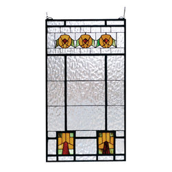Meyda - 18 Inch W X 32 Inch H Aurora Dogwood Window Windows - Color Theme: Zaf Amber Hag 59g