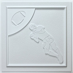 """Football Ceiling Tile, White - Perfect for both commercial and residential applications, these tiles are made from thick .03"""" vinyl plastic. Their lightweight yet durable construction make these tiles easy to install. Waterproof, these tiles are washable and won't stain due to humidity or mildew. A perfect choice for anyone wanting to add that designer touch at an amazing price."""