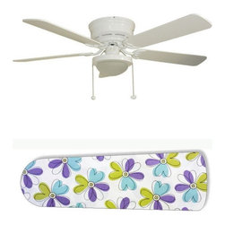 "Alyssa Funky Floral 52"" Ceiling Fan with Lamp - This is a brand new 52-inch 5-blade ceiling fan with a dome light kit and designer blades and will be shipped in original box. It is white with a flushmount design and is adjustable for downrods if needed. This fan features 3-speed reversible airflow for energy efficiency all year long. Comes with Light kit and complete installation/assembly instructions. The blades are easy to clean using a damp-not wet cloth. The design is on one side only/opposite side is bleached oak. Made using environmentally friendly, non-toxic products. This is not a licensed product, but is made with fully licensed products. Note: Fan comes with custom blades only."