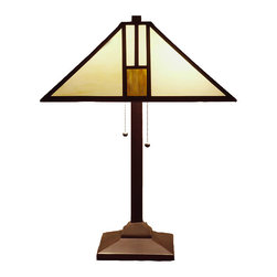 Warehouse of Tiffany - Tiffany-style White Mission-style Table Lamp - These white Tiffany style table lamps have an intricate design that creates a chic look. The shade is made of stained glass and outlined in a fine copper foil. The metal base highlights a bronze finish to match the overall hues of white and gold.