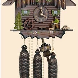 Schneider Cuckoo Clocks - Black Forest Eight-Day Musical Hand-Painted Flowers 13-Inch Cuckoo Clock - -Fitted with a 1-day rack strike movement no. 25 with strike and cuckoo call on the half and full hour  -With wooden dial and wooden hands, wooden cuckoo, with manual shut-off lever for strike, cuckoo call and music  -Musical Swiss movement playing 2 different melodies and a total of 22 notes  -Dancing figurines are made out of resin. 2 figurines are the original clock peddlers  2 figurines are females in the traditional Black-Forest costume, wood chopper, water wheel  -Manufactured in Germany Schneider Cuckoo Clocks - 8TMT 5405/10