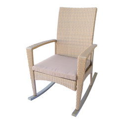 Dola - Outdoor Wicker Rockers, Patio Rocking Chairs in Honey Almond Wicker, Medium Beig - Bring back a touch of nostalgia with this classic rocking chair with a modern twist.