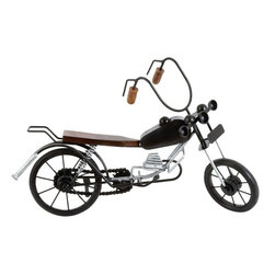 Benzara - Motorcycle Expertly Crafted Miniature Motorcycle - This miniature motorcycle sculpture features excellent embellishments and is sure to enhance your interior decor. This art piece is made of high quality metal and wood and is bestowed with the endurance to grace your home for a long time to come. The realistic usage of wood and metal for the appropriate parts with contrasting colors makes this piece visually appealing. The essential parts like the wheel, chain sprocket, suspension, engine, and the fuel tank are crafted meticulously and would earn rave reviews from any motorcycle enthusiast. The smooth finish and the extensive workmanship make this miniature sculpture a true art piece. Get it home to display it proudly or gift it to your loved ones. The long and raised handle bars with beautiful curves as in a cruiser bike give this sculpture a stylish look. The wooden seat and handle bar grips are smoothly finished and add to the attraction.