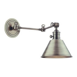 Hudson Valley - Hudson Valley 8322-PN 1 Light Wall SconceGarden City Collection - Garden City's adjustable sconces embody the tradition of ingenious American design.  Restoration style shapes the industrial socket holder and rings the machined details on the cast metal backplate.  We wire Garden City with an on/off switch, making it id